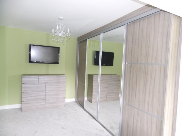 beech and mirrored sliding wardrobe doors