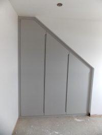 finished grey loft conversion wardrobe-with-modern grey handleless doors