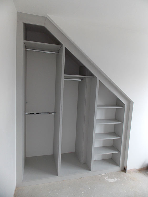 loft conversion wadrobe interior in fashionable grey