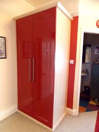 red gloss hinged fitted wardrobe