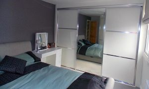 white mirrored aluminium sliding wardrobe door
