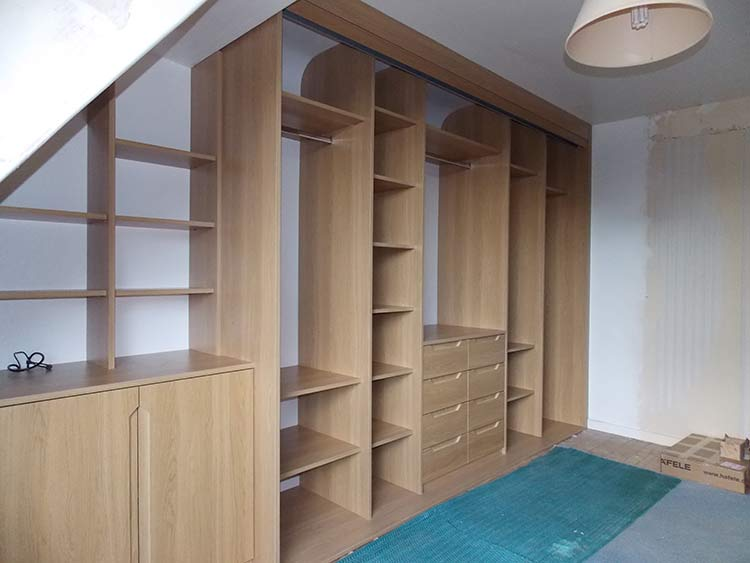 beautiful wooden handleless wardrobe, closet and cupboards interior layout