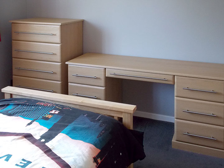 birch-chest-of-drawers and desk custom made