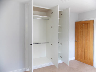 Fitted Hinged Wardrobe Gloss White Open