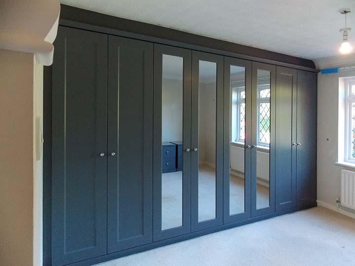 beautiful custom fitted-wardrobe with hinged-doors fashionable grey
