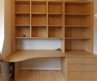 loft office built-in desk with storage