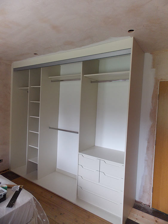 satin silver mussel sliding wardrobe fitted before doors