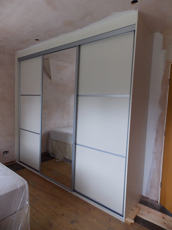 satin silver mussel sliding wardrobe fitted with doors