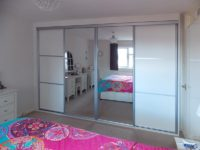 aluminium white mirrored sliding door wardrobe