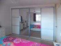 aluminium white mirrored sliding door wardrobe
