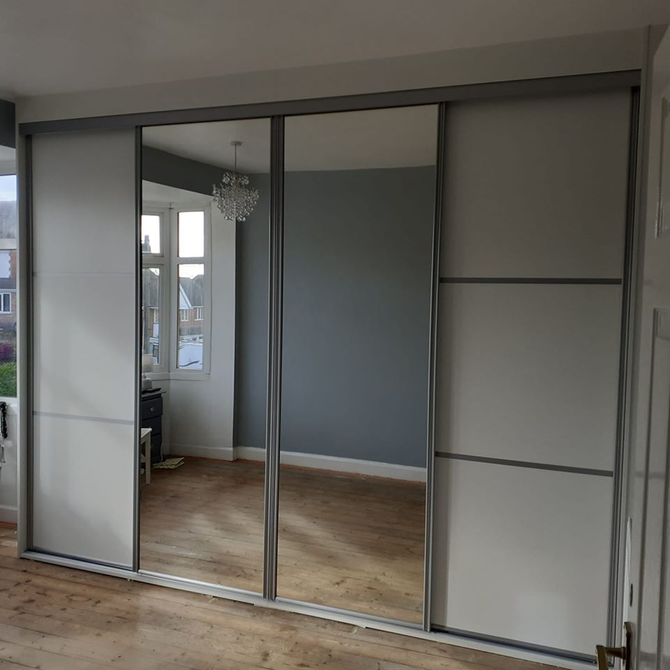four door sliding wardrobe white split panels