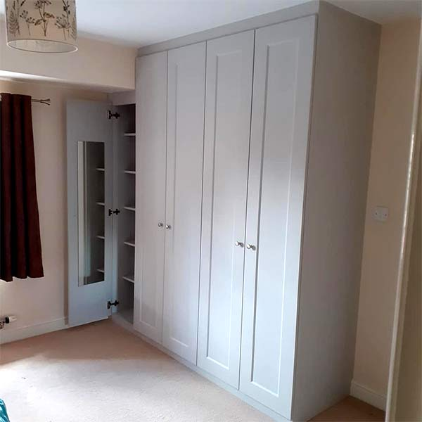 light-grey fitted hinged wardrobe side-view